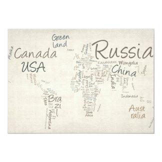 Writing Text Map of the World Map Personalised Announcements