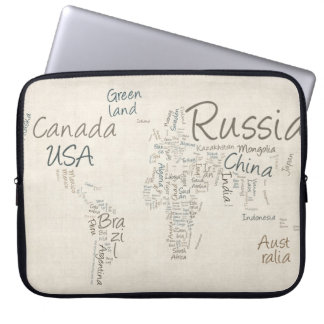 Writing Text Map of the World Map Laptop Computer Sleeve