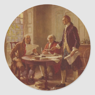 Writing the Declaration of Independence by Ferris Classic Round Sticker