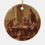 Writing the Declaration of Independence by Ferris Round Ceramic Decoration