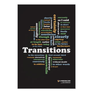 Writing Transitions 13 x 19 Classroom Poster