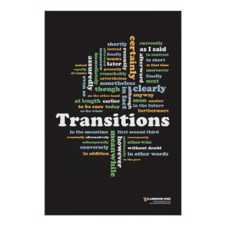 Writing Transitions 24 x 36 Classroom Poster