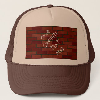 Writings on the brick wall trucker hat