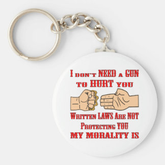 Written Laws Are Not Protecting You My Morality Is Basic Round Button Key Ring