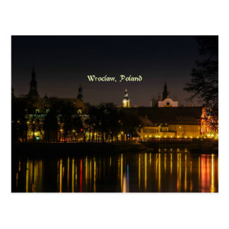 Wroclaw, Poland cityscape photograph, twilight Postcard