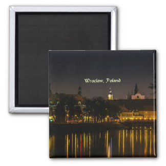 Wroclaw, Poland cityscape photograph, twilight Square Magnet