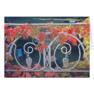 Wrought-iron Balcony/Vine-Covered/ Fall Colors Note Card