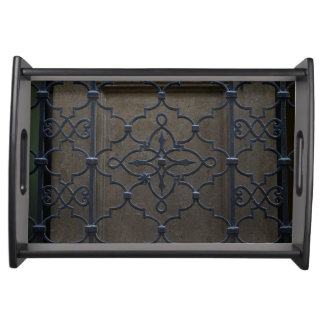 wrought iron grid vintage architectural metal deta serving tray