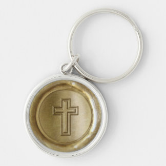 WSM - Gold Cross II - Silver-Colored Round Key Ring