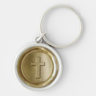 WSM - Gold Cross - Silver-Colored Round Key Ring