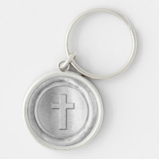 WSM - Silver Cross - Silver-Colored Round Key Ring