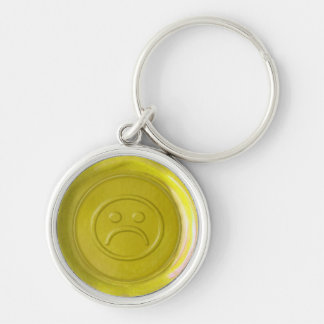 WSM - Yellow Sad Face - Silver-Colored Round Key Ring