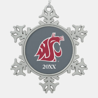 WSU Primary Mark - Red Snowflake Pewter Christmas Ornament