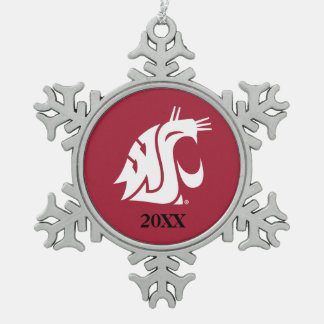 WSU Primary Mark - White Snowflake Pewter Christmas Ornament