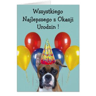 Wszystkiego Najlepszego boxer dog greeting card