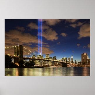WTC Lights Brooklyn Bridge Poster