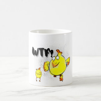 WTF? face, chicken doodle character. Coffee Mug