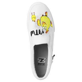 WTF? face, chicken doodle character. Slip-On Shoes