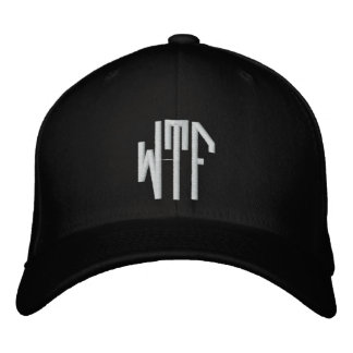 WTF lg oct fitted blk ht Embroidered Baseball Caps