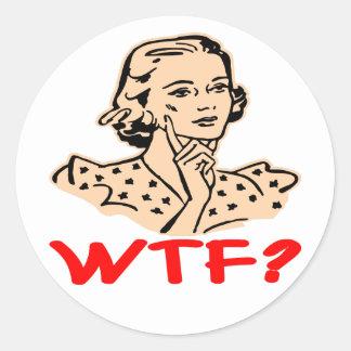 WTF Retro Classic Round Sticker