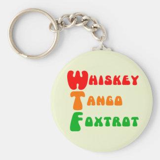 WTF Whiskey Tango Foxtrot fun acronym lettering Key Ring