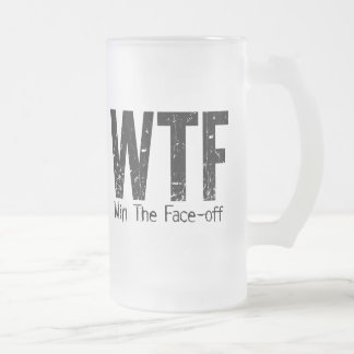WTF: Win The Face-off frosted beer mug
