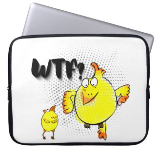 """WTF?"" with yellow doodle chicken character Laptop Sleeve"