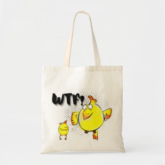 """WTF?"" with yellow doodle chicken character Tote Bag"