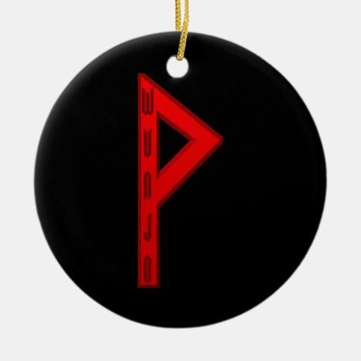 Wunjo Rune red Christmas Ornaments