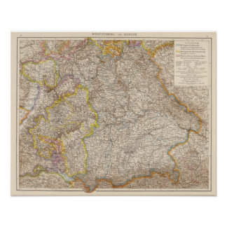 Wurttemberg, Bayern Atlas Map of Germany Poster
