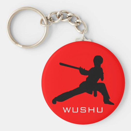 Wushu Staff Basic Round Button Key Ring