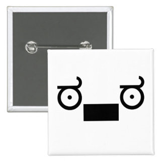 wut emoticon 15 cm square badge