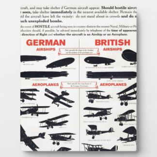 WW1 Aircraft Recognition Poster Plaque