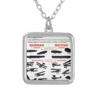 WW1 Aircraft Recognition Poster Silver Plated Necklace