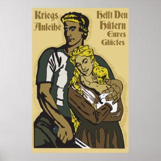 WW1 German Poster Kriegsanleihe, helft den Hütern