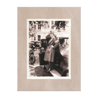 WW1 Red Cross Nurse with Vintage Car Stretched Canvas Print