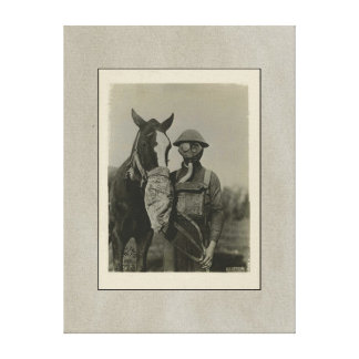 WW1 Soldier and Horse with Gas Masks Canvas Print