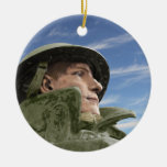 WW1 Soldier in Helmet and Trench Coat Christmas Tree Ornament