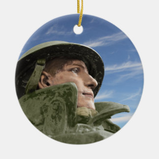 WW1 Soldier in Helmet and Trench Coat Round Ceramic Decoration