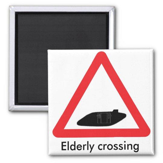 WW1 tank crossing road sign. Elderly crossing Magnet