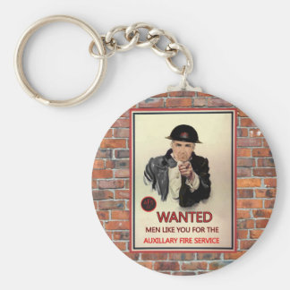 WW2 AFS Recruitment Poster Basic Round Button Key Ring