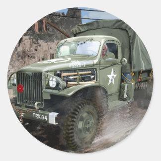 WW2 American Army Truck Classic Round Sticker