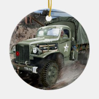 WW2 American Army Truck Round Ceramic Decoration