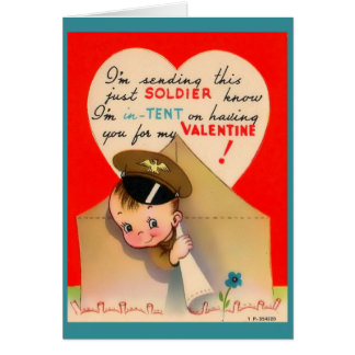 WW2 Army Valentine, Cute Soldier Peeking from Tent Card