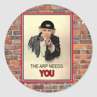 WW2 ARP Recruitment Poster Round Sticker