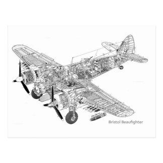 WW2 RAF Bristol Beaufighter Cutaway Postcard