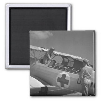 WW2 Red Cross Airplane Square Magnet