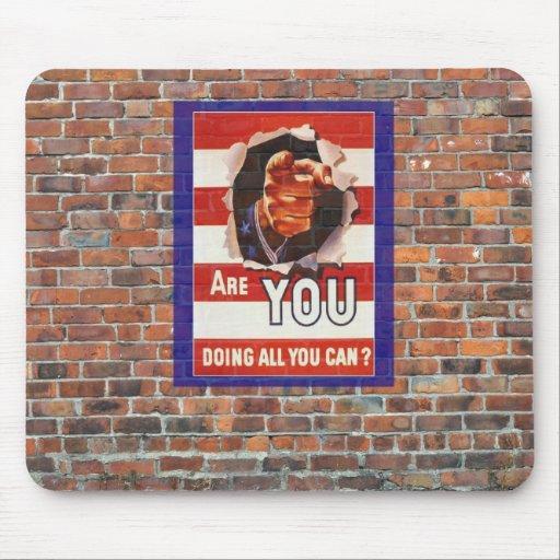 WW2 Wartime Propaganda Poster Mousepads