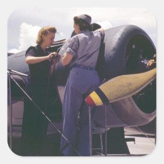 WW2 Women Aviation Mechanics Square Sticker