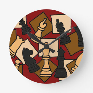 WW- Chess Game Pieces Art Round Clock